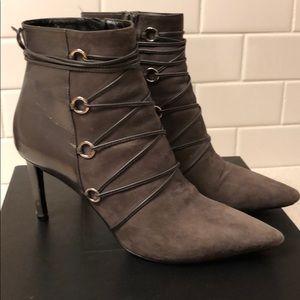 Saint Laurent gray lace-up booties